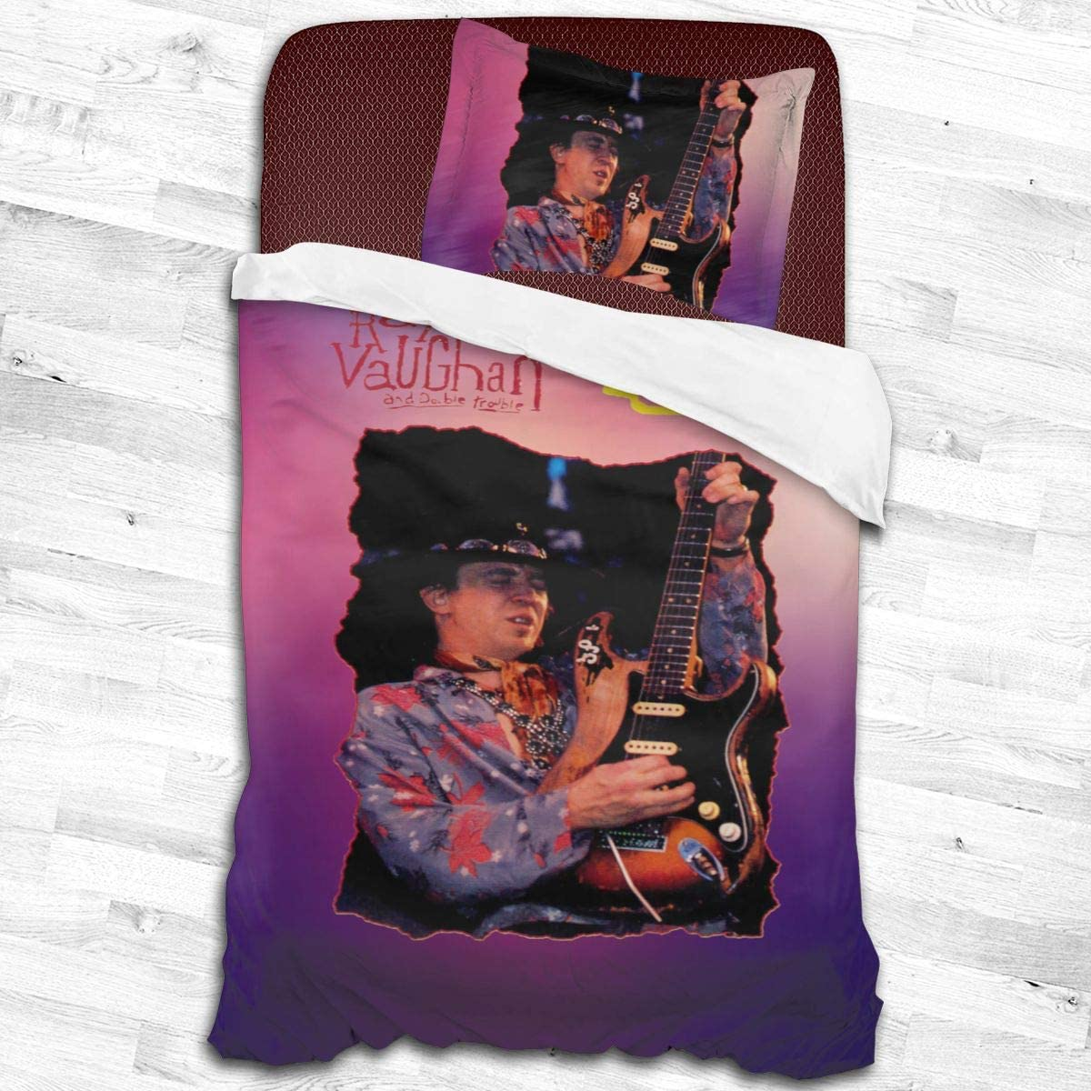 Qwtywqekeertyi Stevie Ray Vaughan Cotton Student Dormitory Quilt Cover Two-Piece Quilt Cover for Boys and Girls On Single Beds