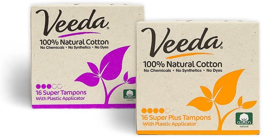 Veeda 100% Natural Cotton Compact BPA-Free Applicator Super & Super Plus Tampons Chlorine, Toxin and Pesticide Free, 1 Box of 16 Count Each