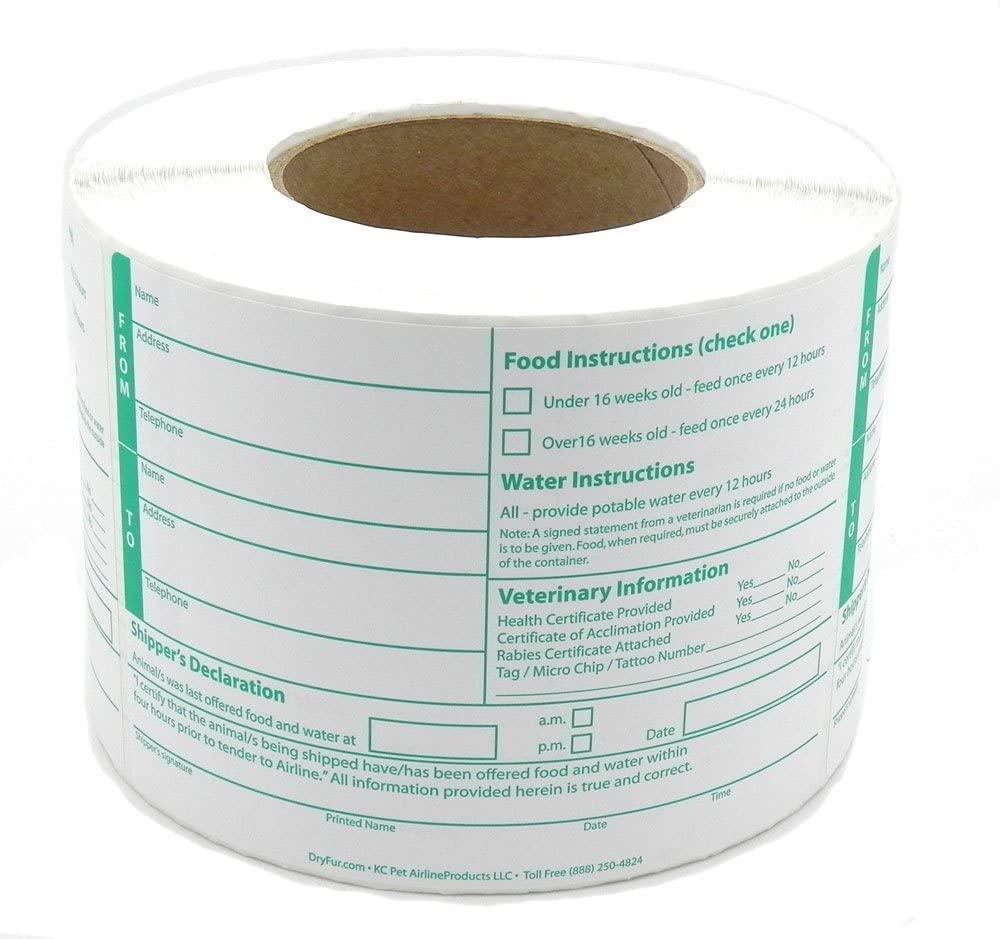 DryFur Pet Shippers Declarations Labels (roll of 500)