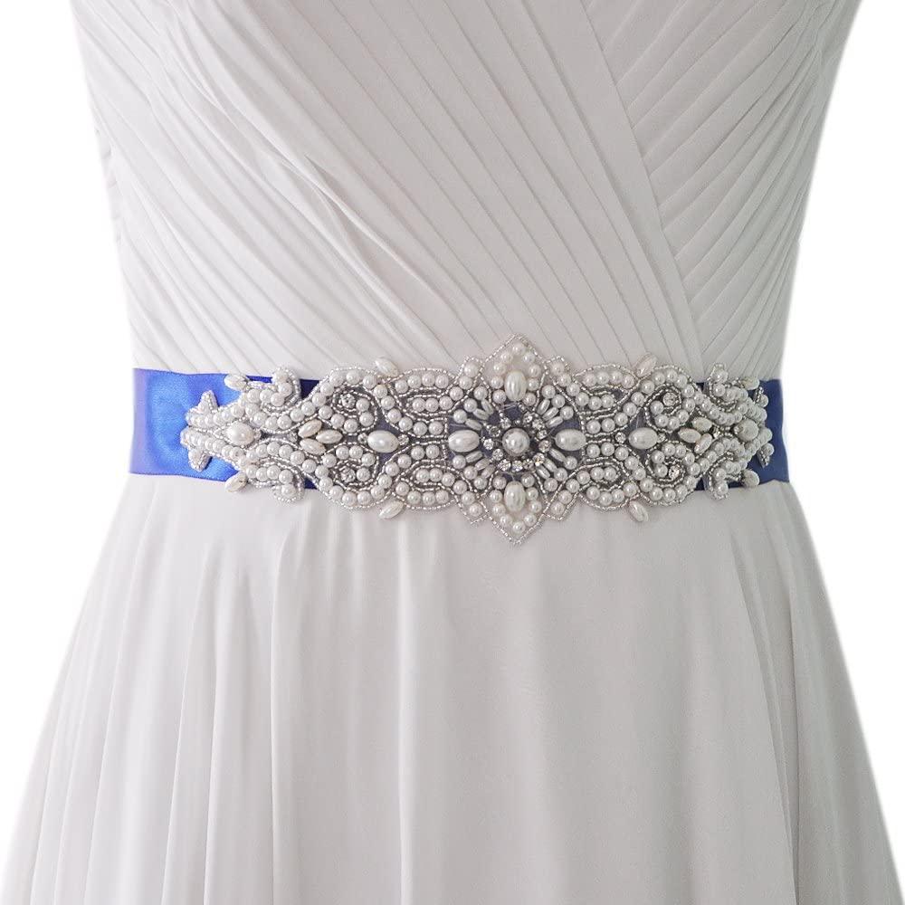THK-Wedding Pearl Wedding Sash Wedding Belt For Bride Dress Bridal Sash Wedding Belt (Black)