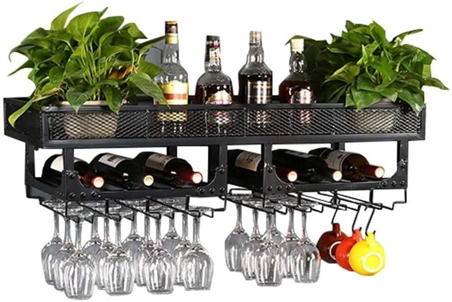 NJYT Wine Racks Wall Holder Metal Vintage Double Layer Hanging Wine Glass Tray Large Rustic Wall Decoration Unit for Kitchen/Bar/Restaurant (Color : Black)