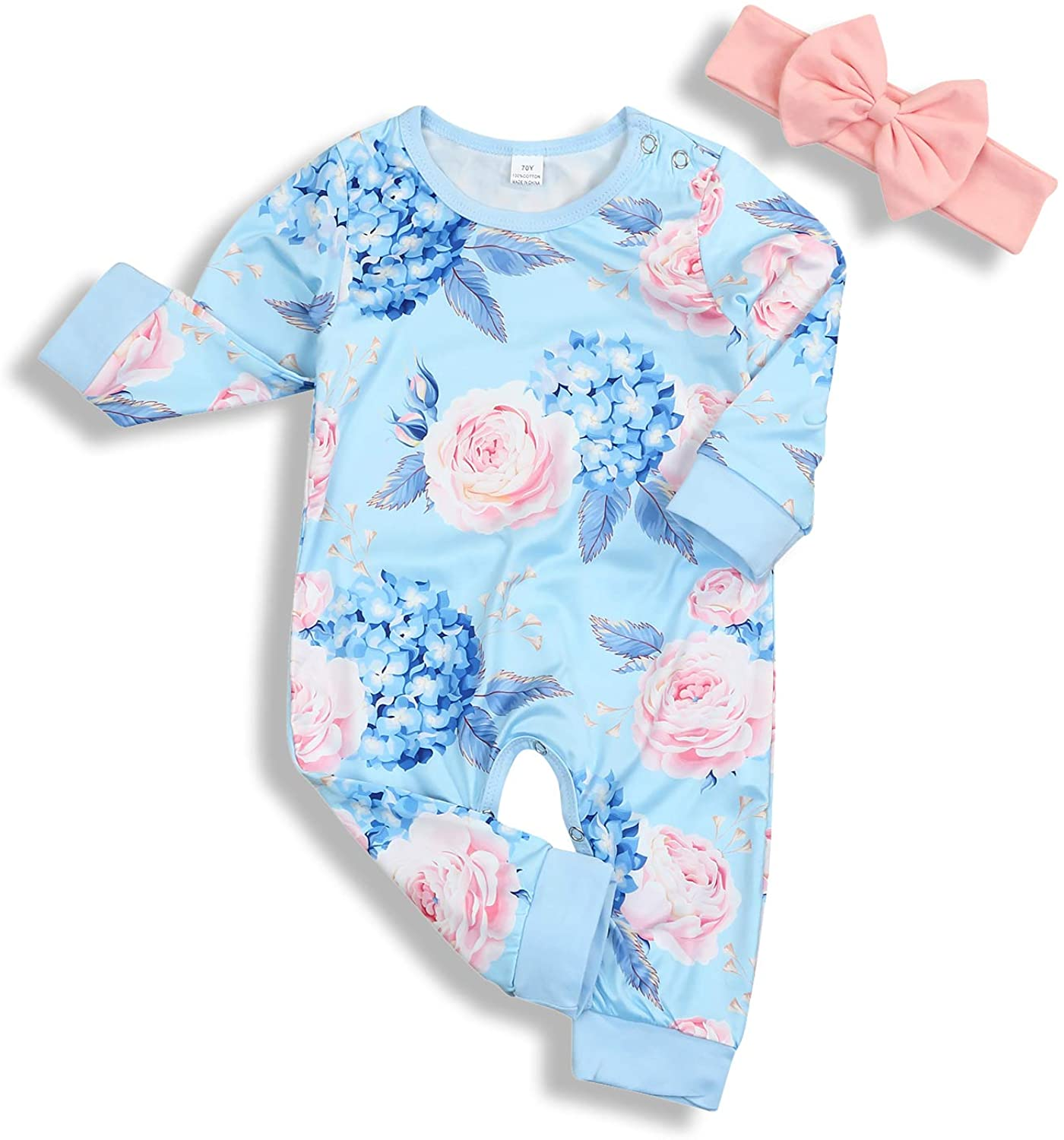 Younger Tree Newborn Baby Girls Romper Jumpsuit Full Flower Long Sleeves Bodysuit Infant Toddler Headband Clothes