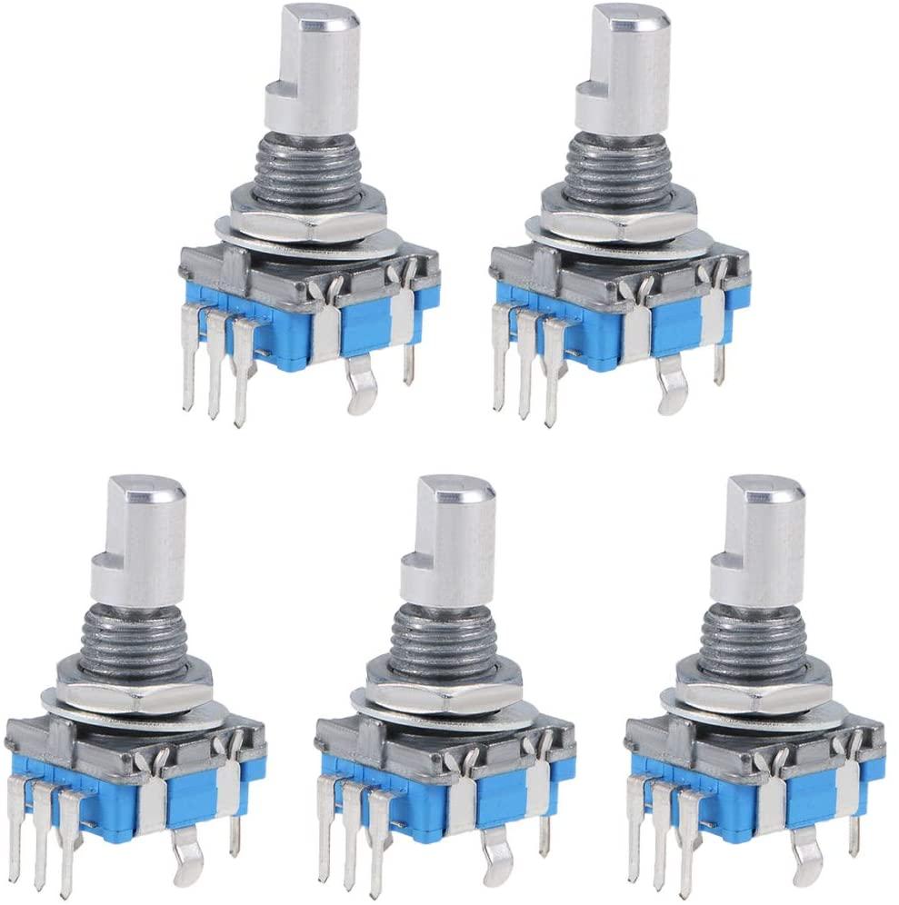 uxcell 360 Degree Rotary Encoder Code Switch Digital Potentiometer EC11 7 Pins 15mm D-Shaft 5Pcs