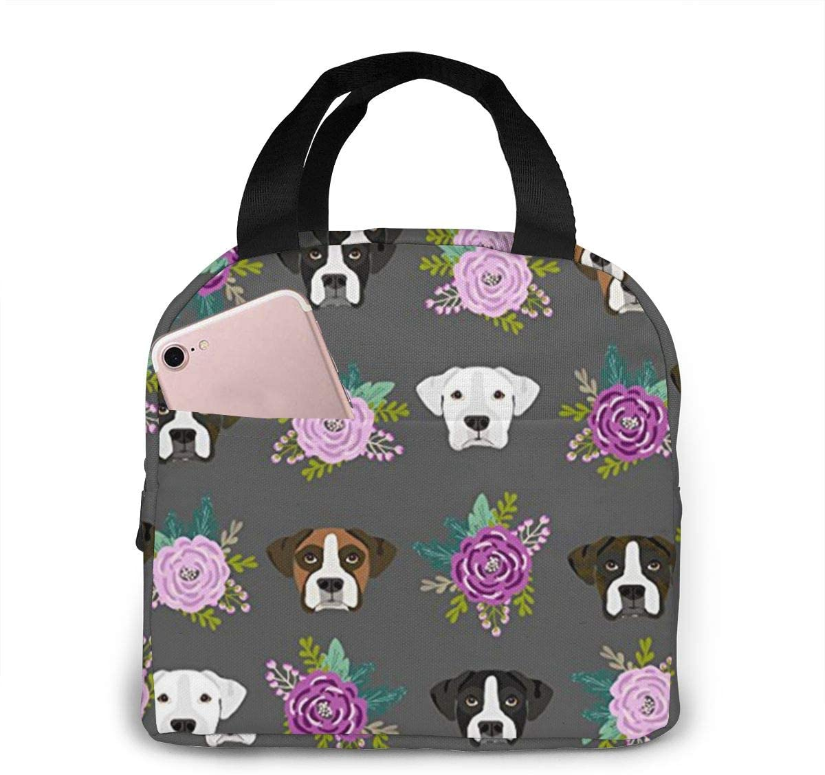 antspuent Boxer Dogs Floral Lunch Bag for Women Girls Kids Insulated Picnic Pouch Thermal Cooler Tote Bento Large Meal Prep Cute Bag Big Leakproof Soft Bags for Lunch Box, Camping, Travel, Fishing