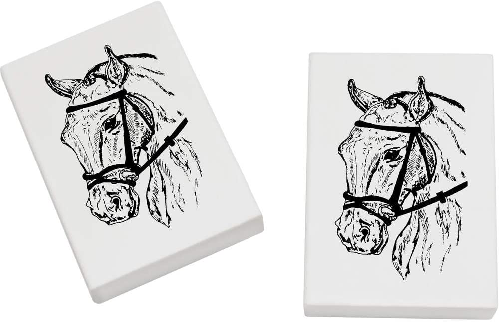 Azeeda 2 x 45mm 'Horse in Bridle' Erasers / Rubbers (ER00015029)