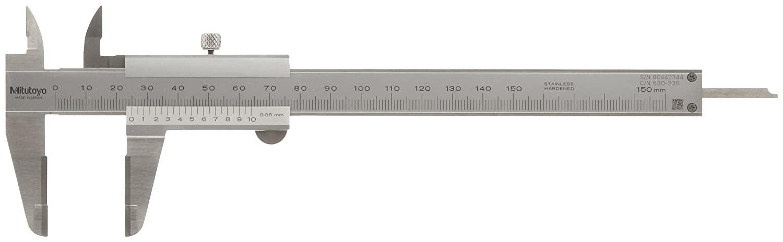 Mitutoyo 530-122 Vernier Caliper, Stainless Steel, 0-150mm Range, +/-0.03mm Accuracy, 0.02mm Resolution