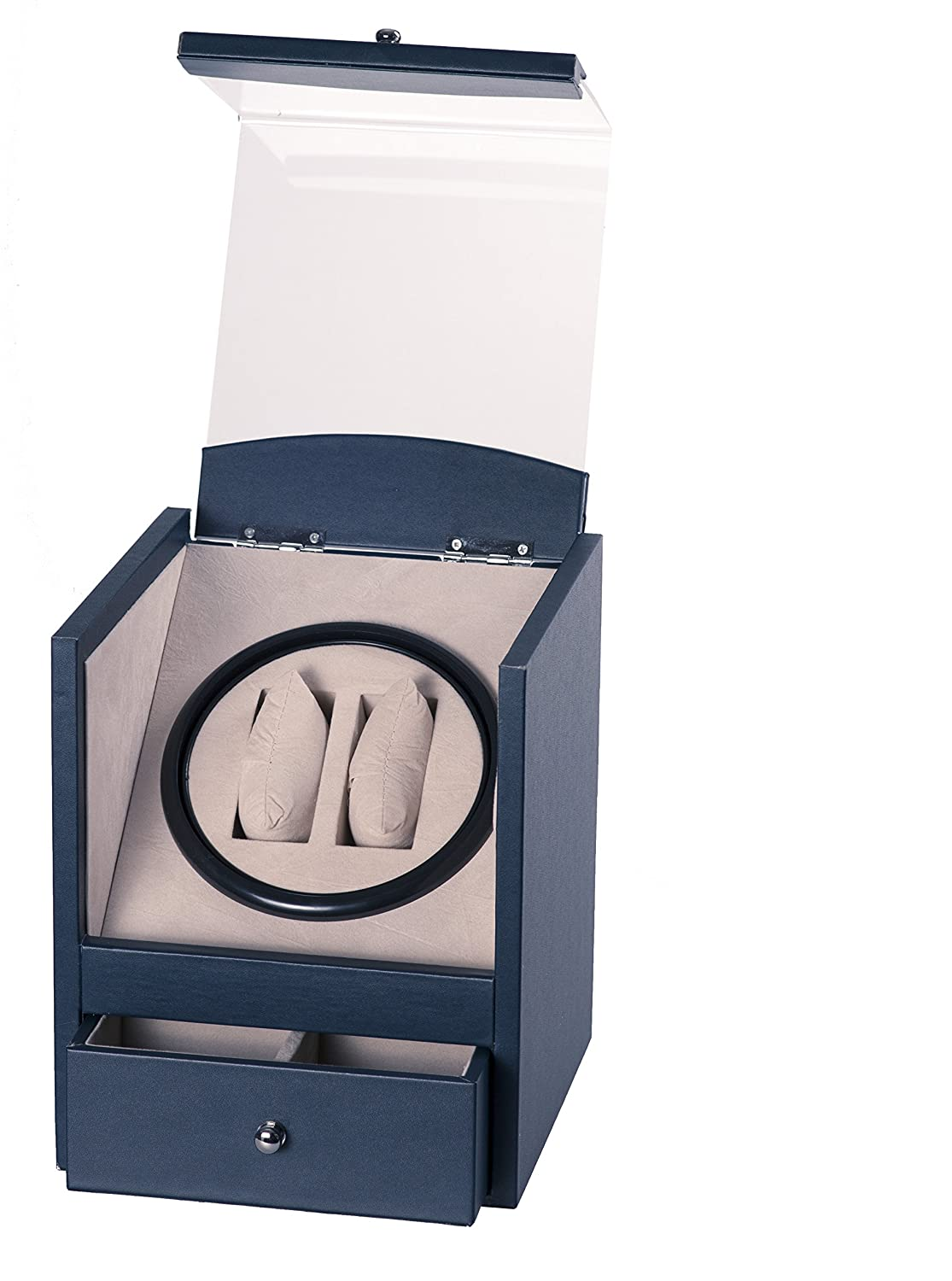 Navy Blue Leather 2+4 Automatic Rotation Dual Double Watch Winder Display Storage Box Battery OR AC/DC