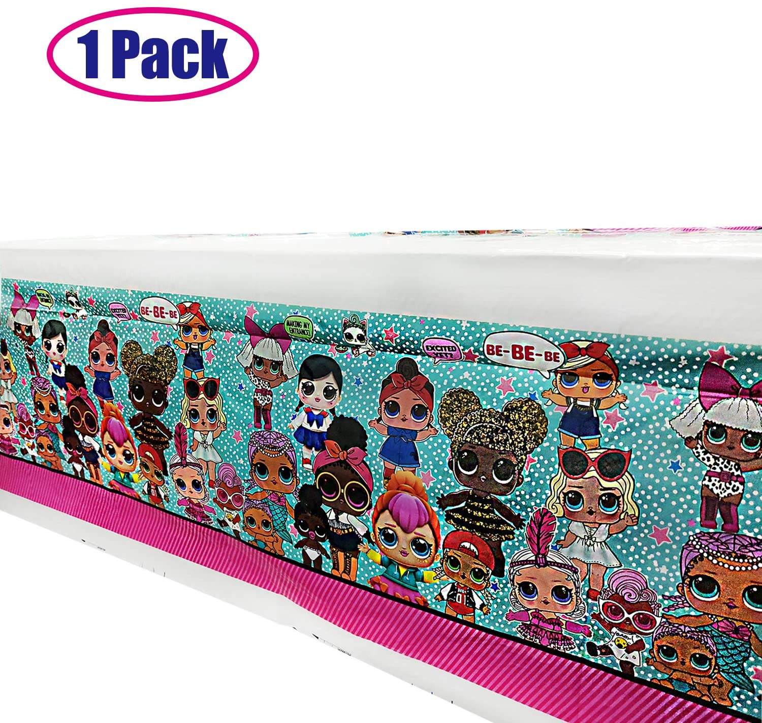 L.O.L. Doll Tablecloth, Surprise Disposable Plastic Table Cover Party Supplies Decorations, LOL Dessert Tableware Table Cloth for Baby Shower Kids Birthday Party Decorations Supplies, 70