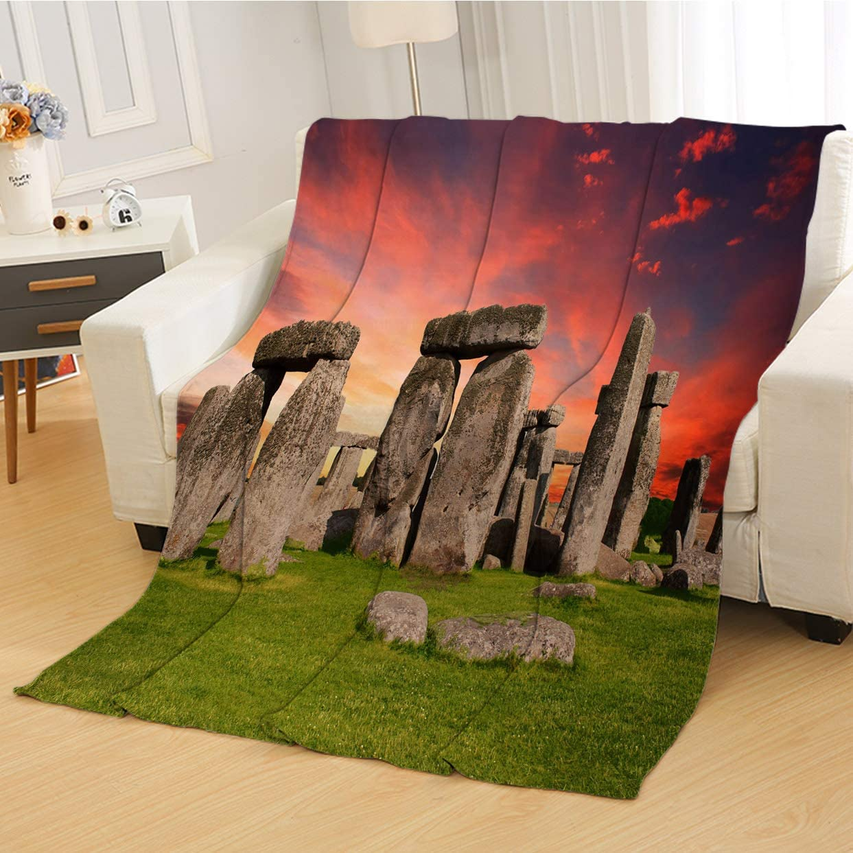 RLDSESS Sunset Warm Baby Blanket, All Season Blanket,Stonehenge Prehistoric Salisbury England Wiltshire Milestone Boulders Sunset Red Gray,Soft Weighted Blanket,Baby Size: 31Wx47L inch