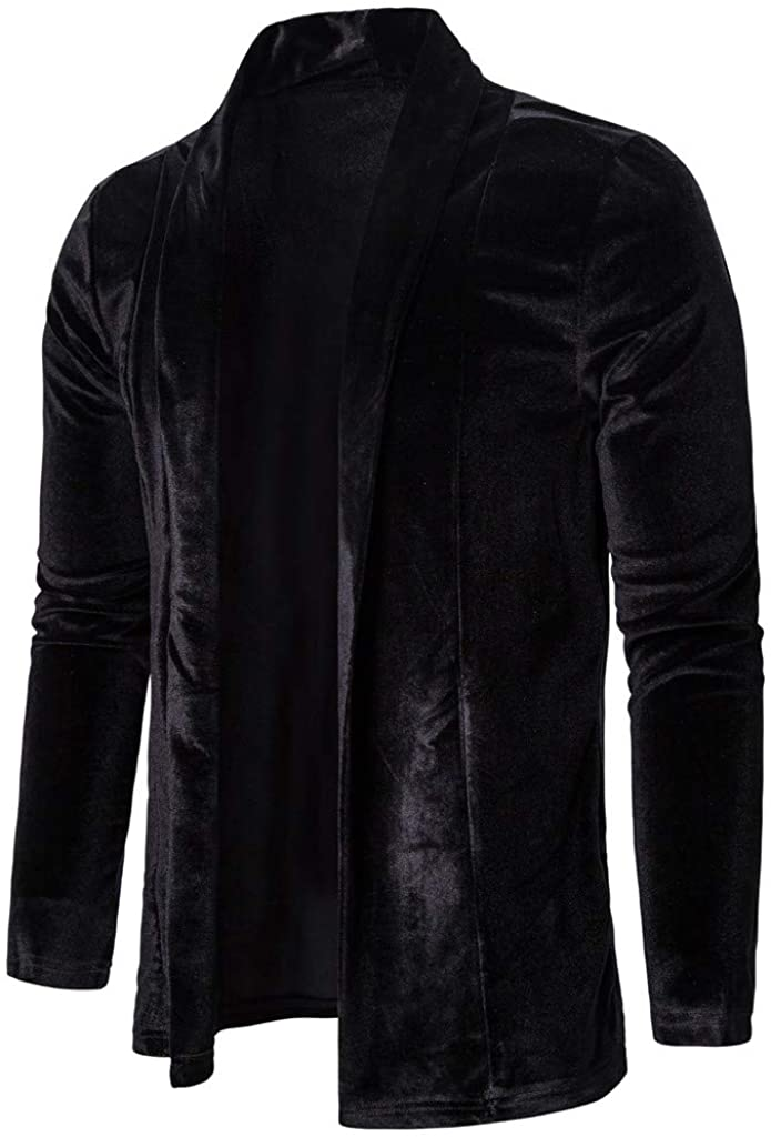 Mens Pure Color Gold Velvet Trench Coat Cardigan Long Sleeve Outwear Blouse