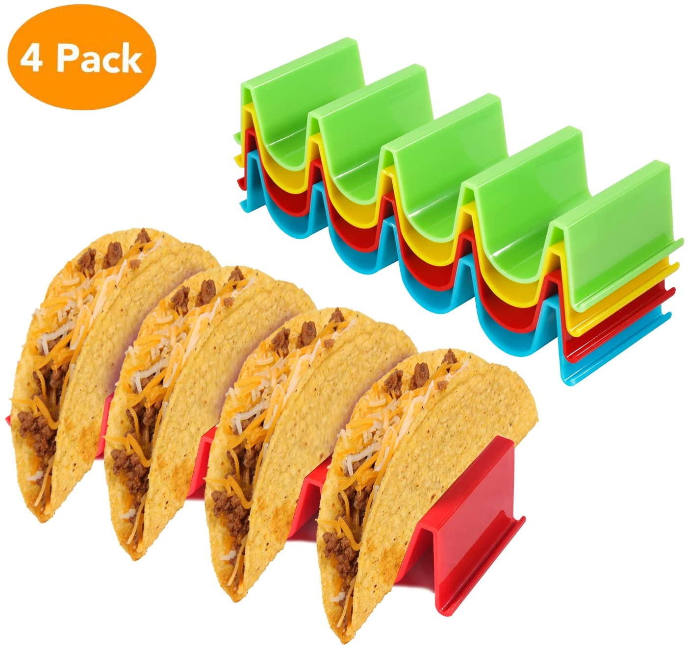 Taco Holder, Kmeivol Taco Holders, Colorful Taco Stand, Steady Support Taco Plates, Hard and Sturdy ABS Health Material Taco Shells, Dishwasher and Microwave Safe, Easy to Clean(4 Pack)