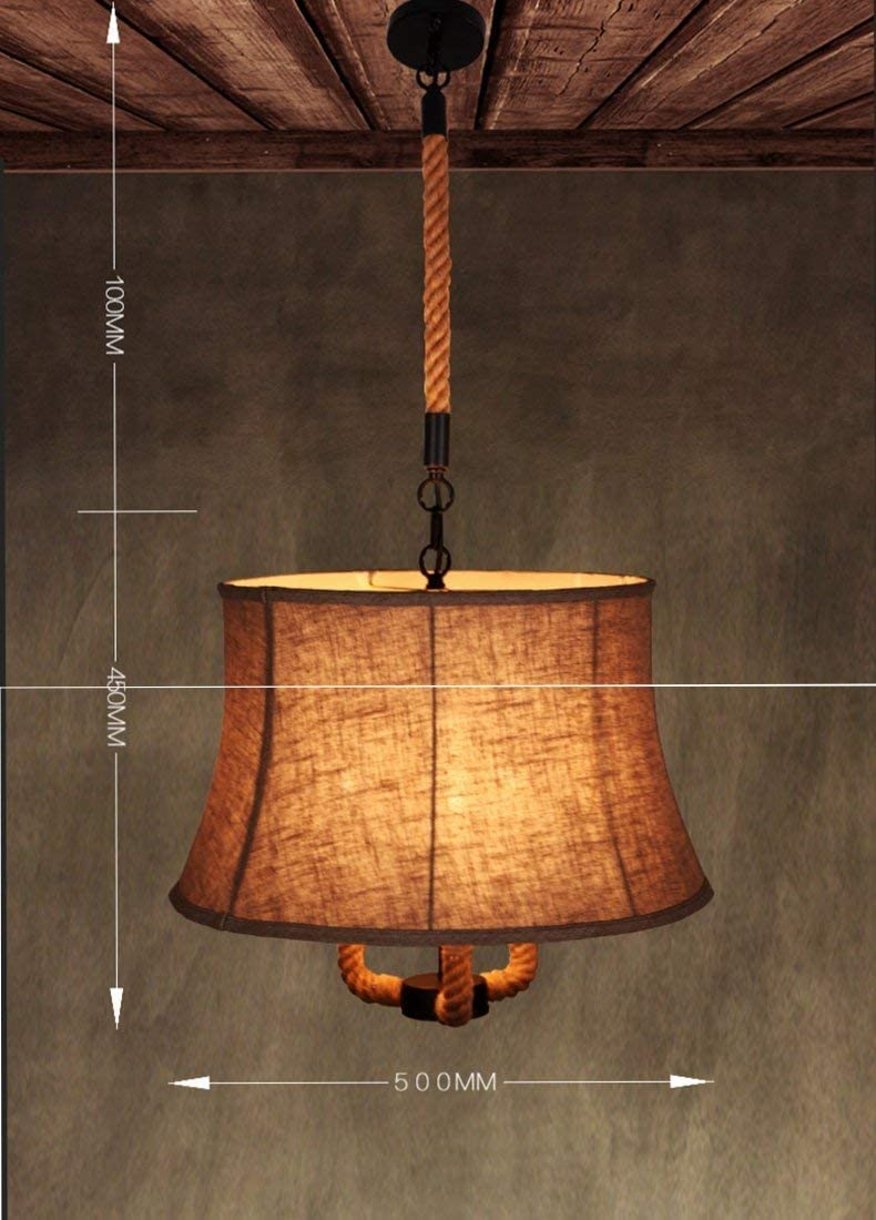 BOSSLV 3-Lights Rustic Rope Textrene Pendent Lamp Ceiling Lamp Chandelier Country Style E26,E27