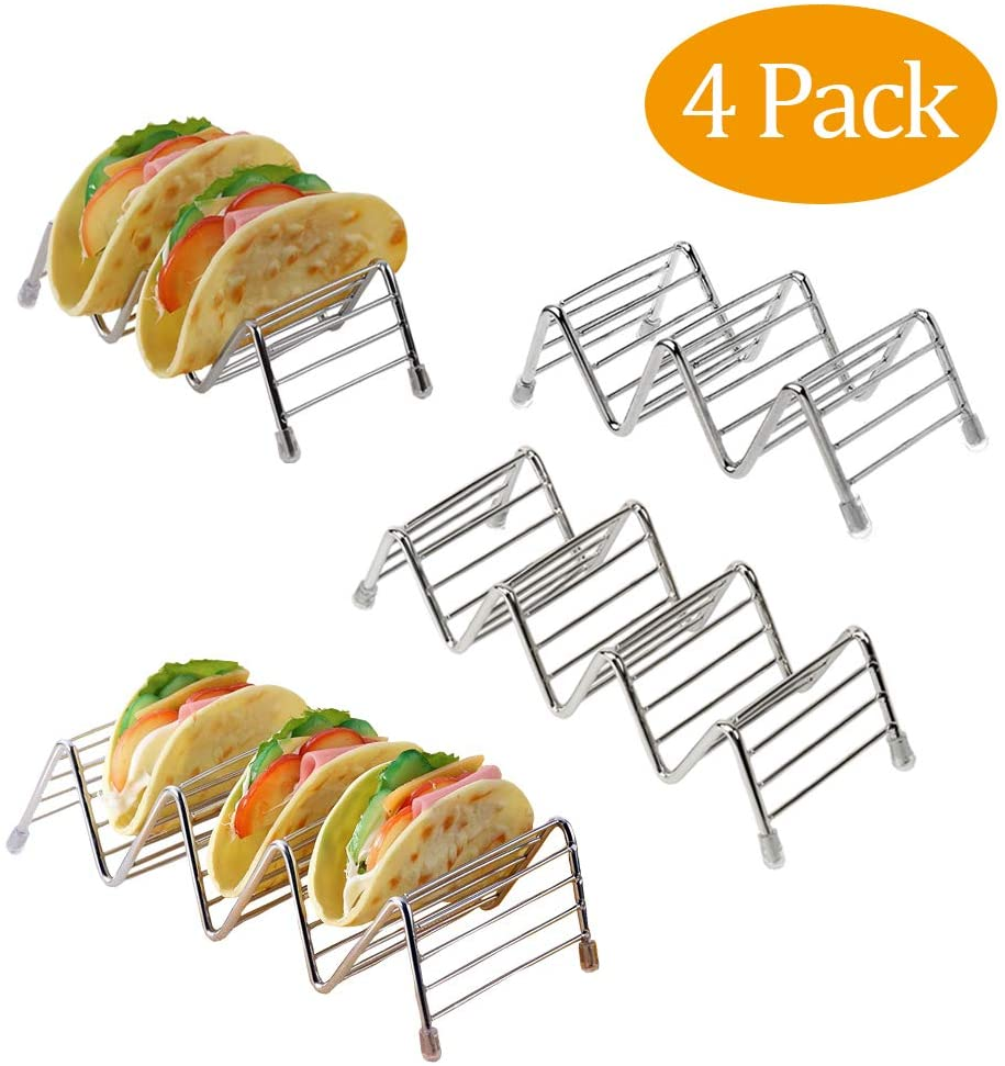 4 Pack Taco Holder Stand Up Holders Stainless Steel Taco Rack Taco Shell Holders Plate Taco Tray (2 Pack Short & 2 Pact Long (total 4 pack)))