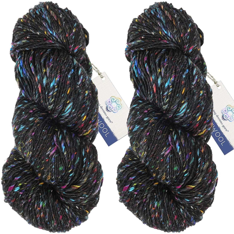 Living Dreams Yarn BOLLYWOOL DK. Super Soft Merino and Sari Silk. Colorful Tweed Yarn with Boho Flair. Homespun in USA. Two Pack, Nirvana