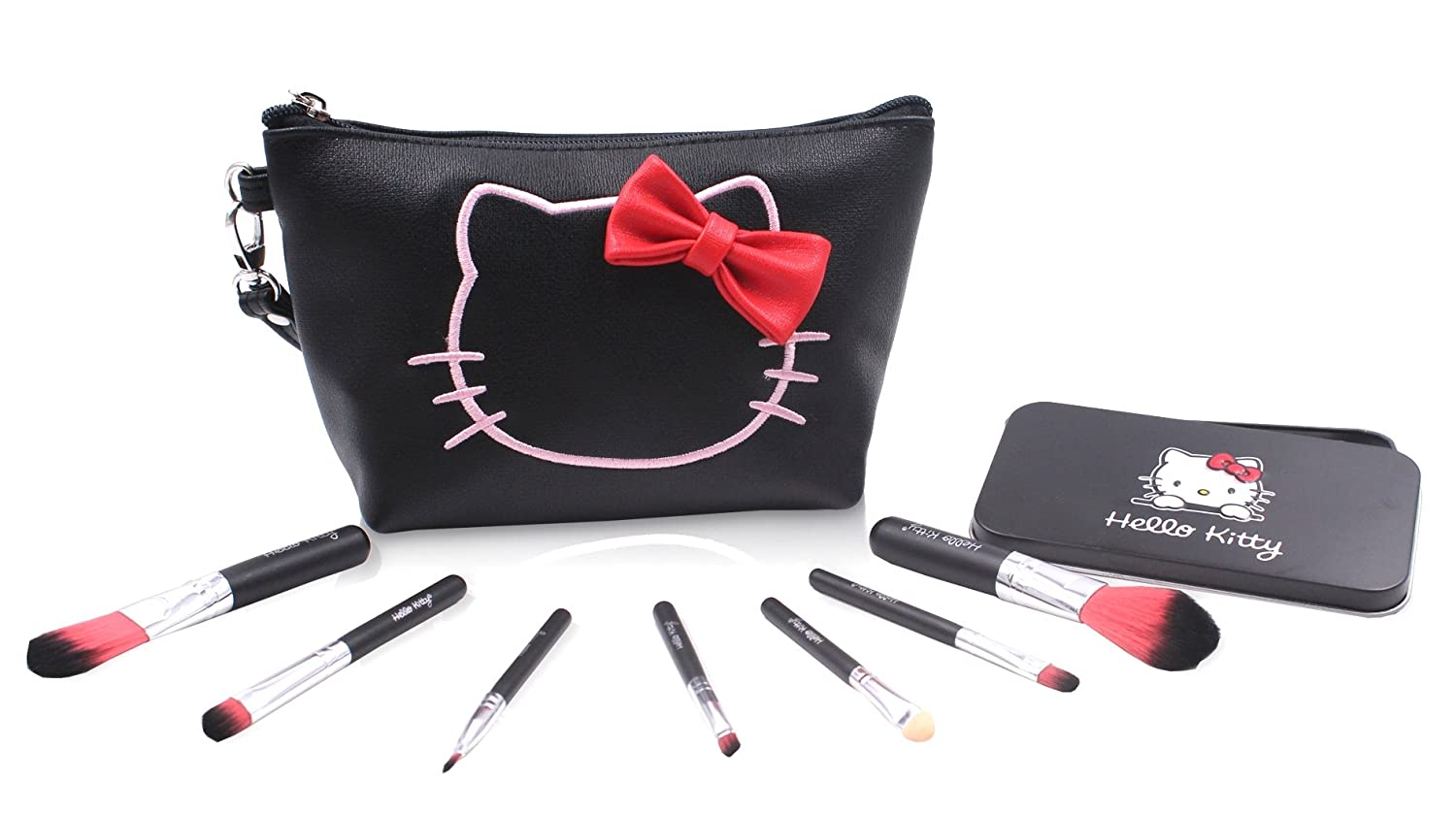 Finex Hello Kitty Black PU Leather Cosmetic Bag + Makeup Brushes SET - Multifuction Travel Make up handbag with zipper and 7 Make-up Brushes in a Black Tin Box