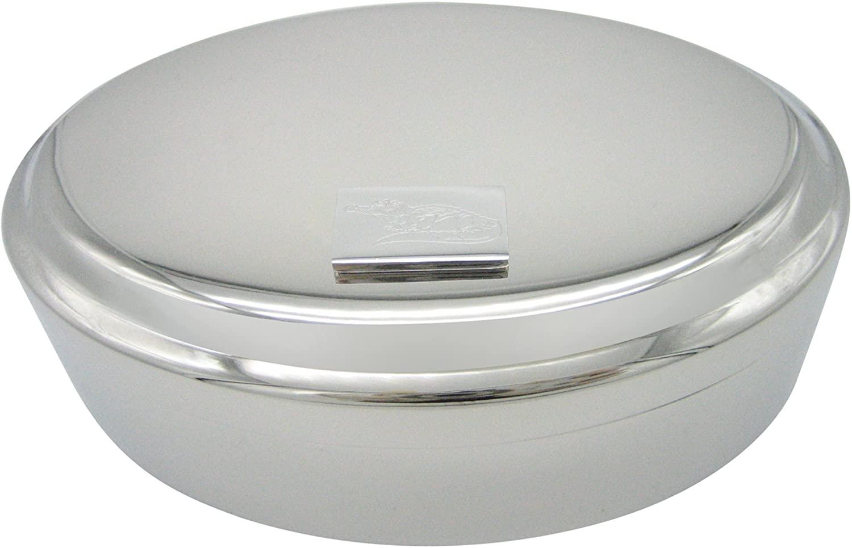 Kiola Designs Silver Toned Etched Detailed Alligator Pendant Oval Trinket Jewelry Box