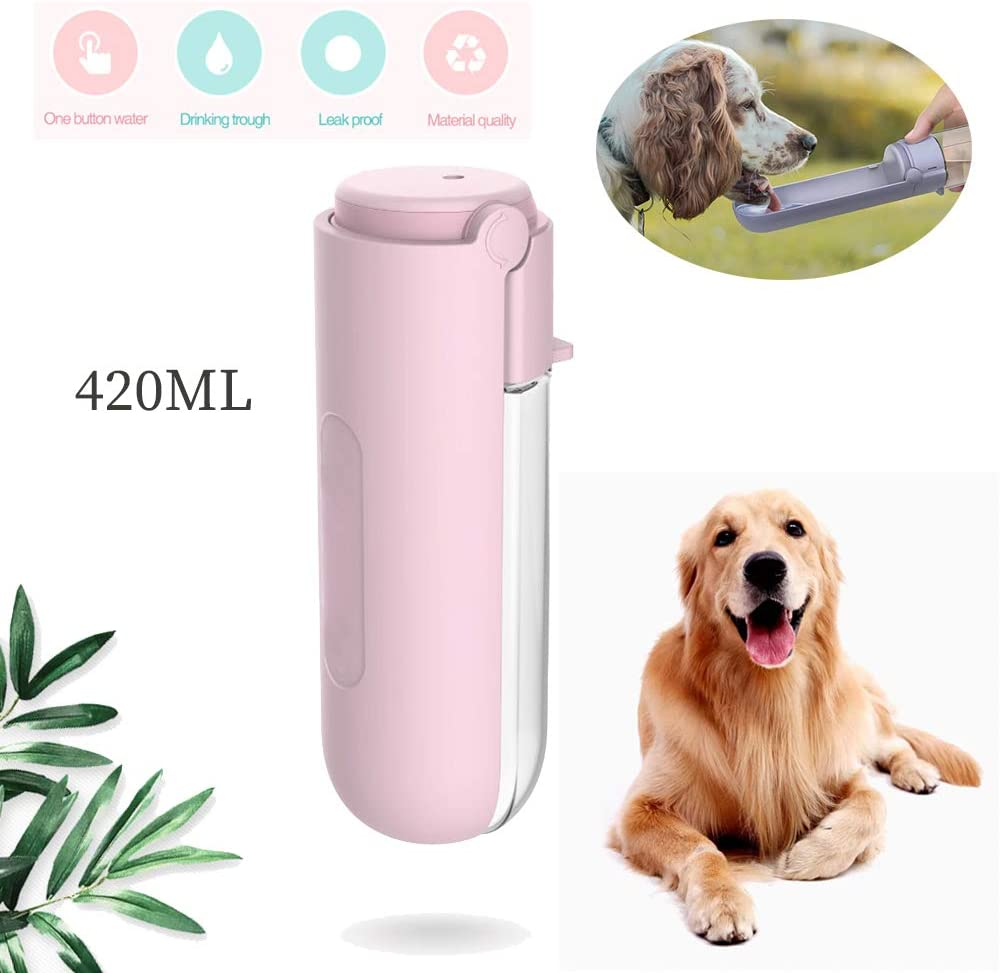 Portable Pet Dog Water Bottle for Walking and Traveling,Foldable Large Capacity Puppy Water Bottle Bowl Leak Proof BPA Free,Lightweight Dog Water Dispenser with Drink Cup with Rotatable Trough