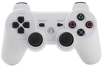 PS3 Controller Wireless Double Shock Gamepad for Playstation 3, Wireless PS3 Controller with Charging Cable (White)