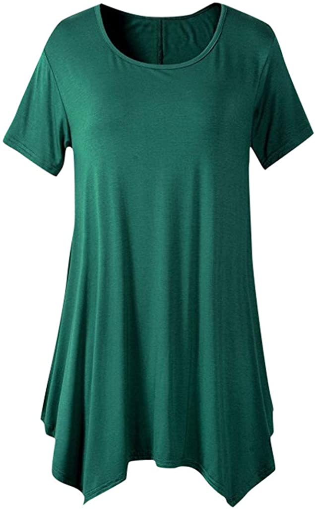 HDGTSA Women Round Neck T-Shirts Short Sleeve Asymmetrical Hemline Solid Loose Tunic Tops