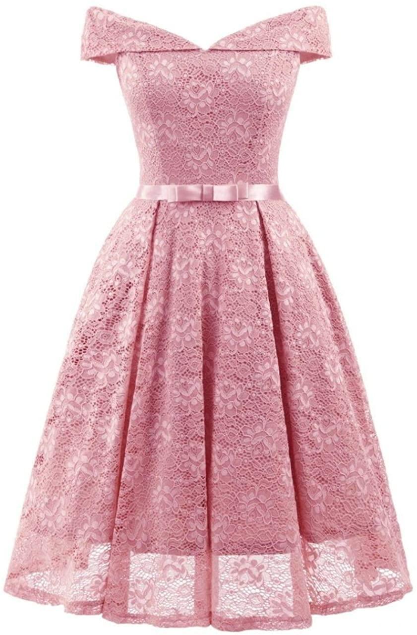 Pink Vestidos 2018 Elegant Lace Patchwork Solid Off The Shoulder Fashion Dress Sexy Slim Party Dresses