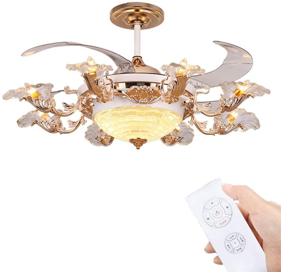 LED Fan Light With Remote Control Silent Fan Light Crystal Fan Light Living Room Bedroom Hotel Cafe Decoration Lamp (Color : A)