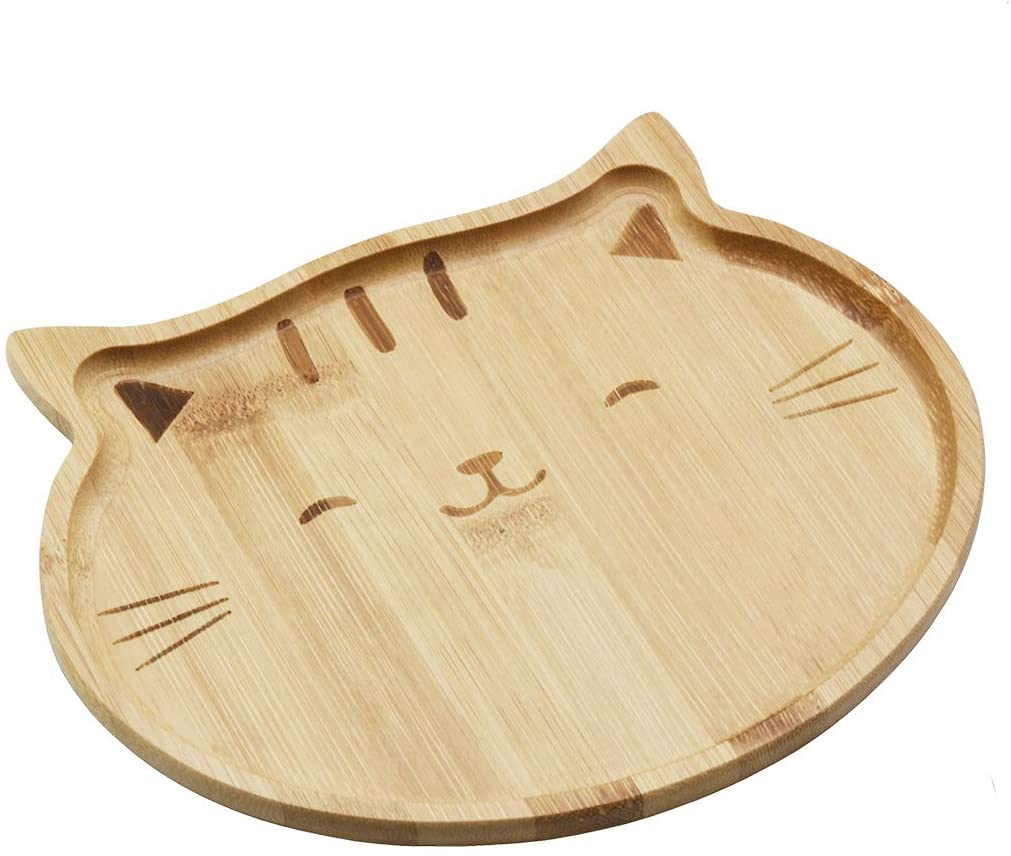 JB Home Collection 4572, Natural Bamboo Cat Serving Tray for Snacks Appetizer Fruit Vegetable | Food Platter | Picnic Kitchen Party | Eco-Friendly Plates