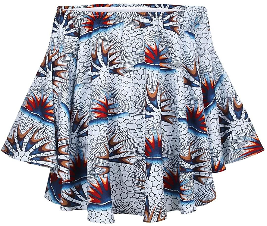 Vimoisa Sexy Boho African Print Dress One Shoulder Lotus Long Sleeve Tube Top Dress Loose Dress