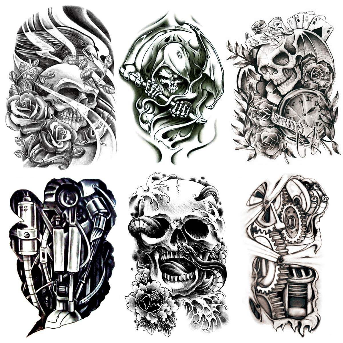 Oottati 6 Pieces Large Leg Black Hollow 3D Mechanical Skull Totem Snake Grim Reaper Sickle Temporary Tattoo