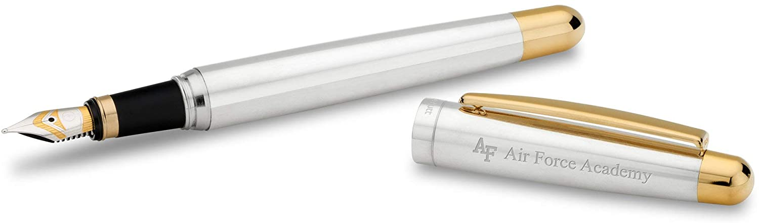 M. LA HART US Air Force Academy Fountain Pen in Sterling Silver with Gold Trim