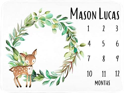Deer Forest Animal Baby Blanket - Nature Wreath - Monthly Milestone Markers (30