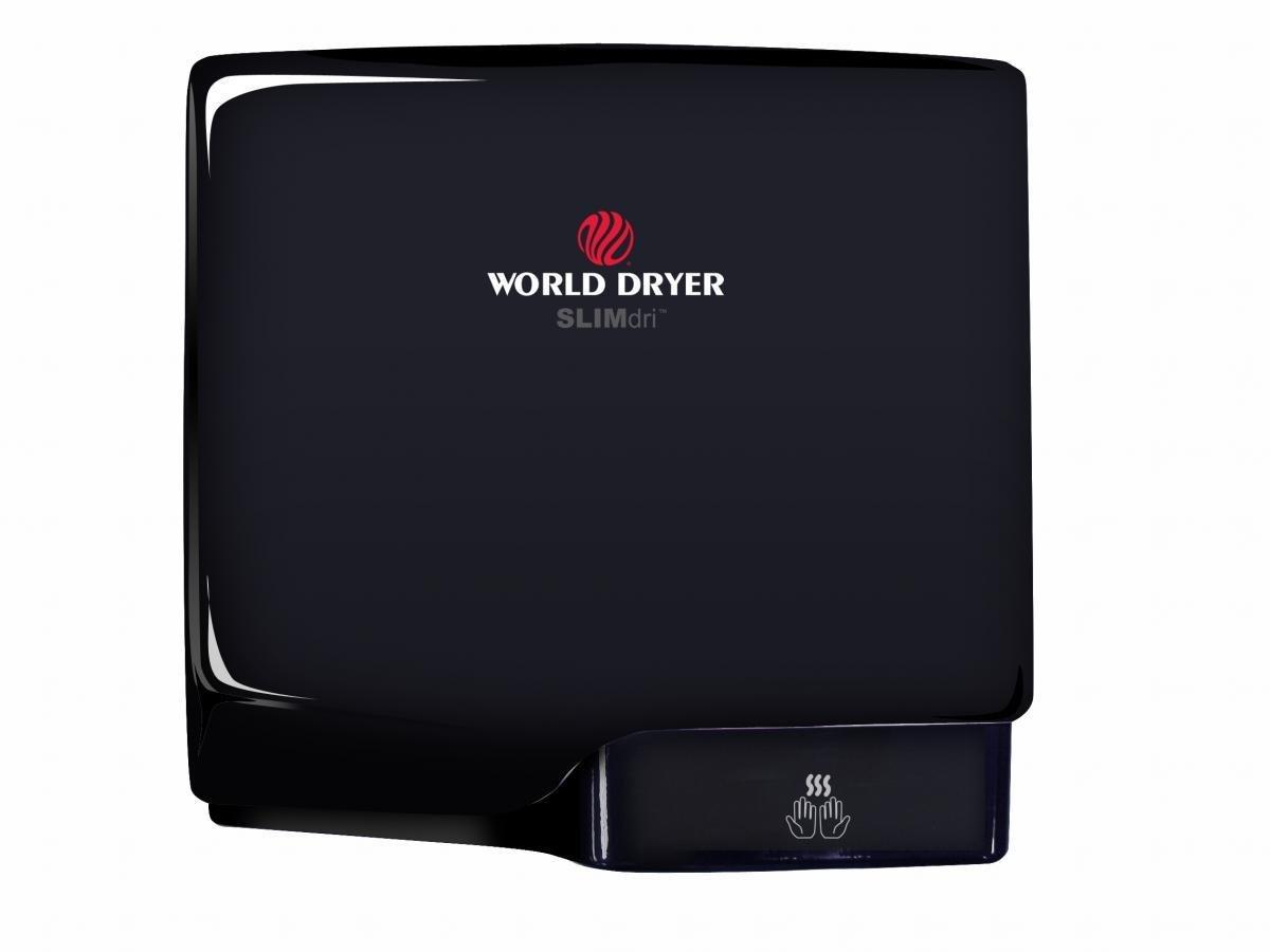 World Dryer L-162 SLIMdri Hand Dryer, ADA Compliant Surface Mounted, 110-240 Smart Universal Voltage, Black Aluminum Cover, Energy Efficient, GreenSpec Listed