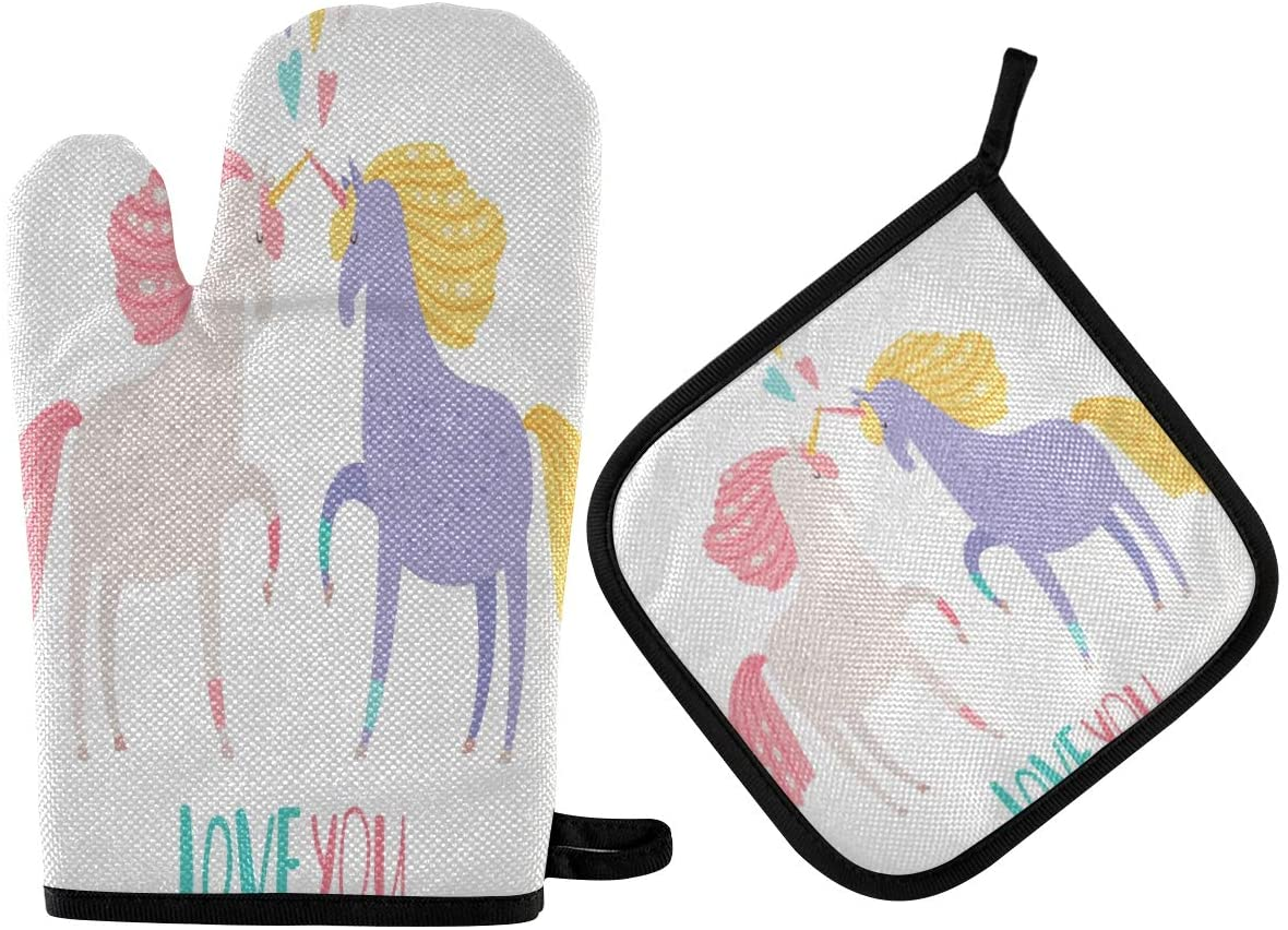 N\ A Unicorn Magic Horse Love You Oven Mitt and Potholder Set, 2 Pack ? Heat Resistant to 400 F ? Handle Hot Items Safely ? Non-Slip Grip Oven Mitt and Pot Holder with Hanging Loop