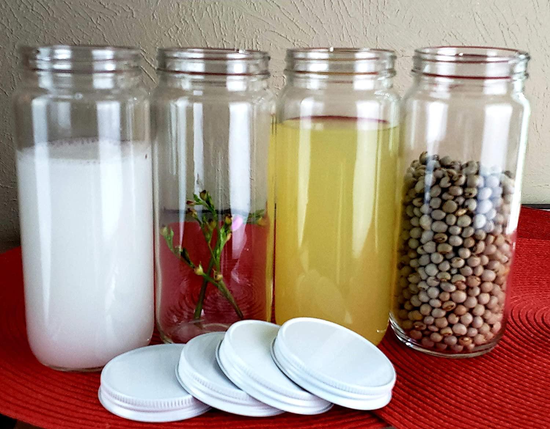 4 Sets of Wide Mouth Glass Bottle Jar 16 oz