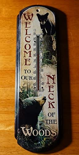 Welcome To Our Neck Of The Woods Mother Bear Cubs Cabin Lodge Thermometer Decor
