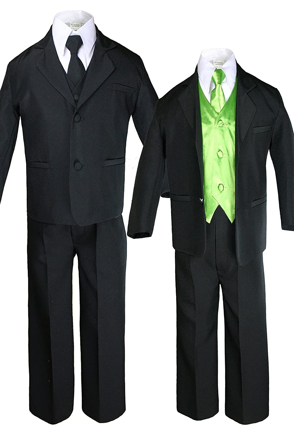 7pc Boys Black Suit with Satin Lime Green Vest Set from Baby to Teen (6)