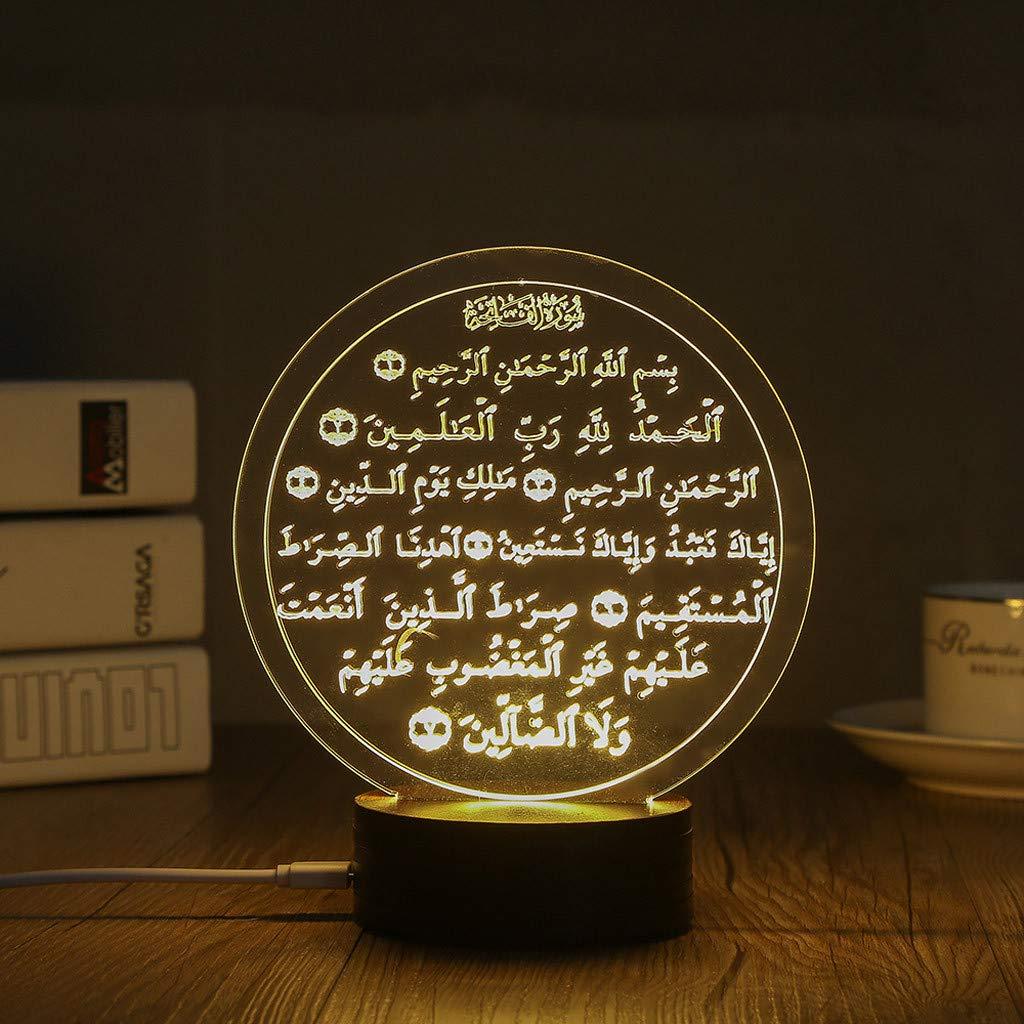 Wulofs Night Lights,3D EID Mubarak LED Night Light,Table Lamp USB Powered for Eid Ramadan Mubarak Party Decoration (Opening chapter)