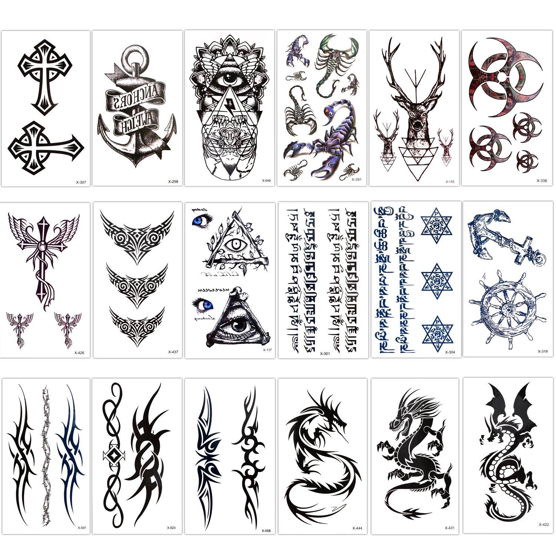 Konsait Temporary Tattoo Kit for Adults Kids Women Men(18 Sheets), Temporary Tattoo Stickers Paper Fake Tattoo Paper Body Sticker Set for Party Favors,Dragon Eye Deer Head Geometric Vine Chakra