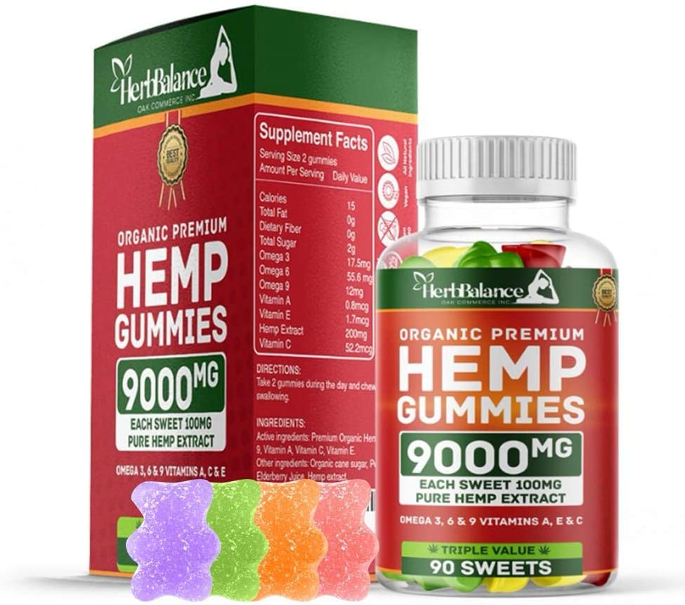 Herb Balance Organic Hemp Gummies 9000MG - 100MG Per Gummy Bear Natural Candy with Premium Herbal Extract to Assist in The Relief of Pain, Anxiety, Stress & Inflammation