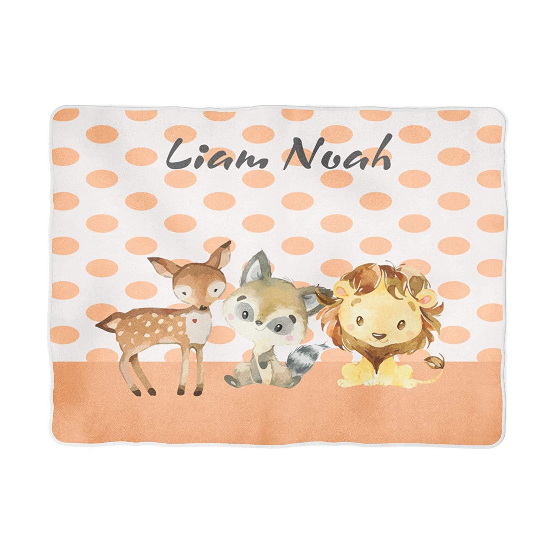 Personalized Baby Blanket Baby Name Blanket Baby Boy Jungle Animal Print Theme Personalized Name Blanket Fleece or Minky Blanket (30x40)