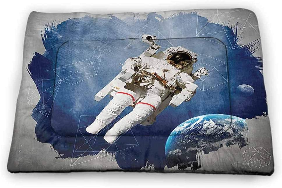 carmaxs Pet Mat Outer Space Decor Machine Washable Pet Bed Liner Astronaut Between Planets Mars Neptune Jupiter Plasma Ethereal Sphere Picture Multi
