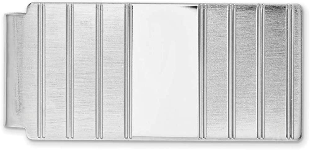 Solid Hinged Engravable Grooved Slim Business Credit Card Holder Money Clip 2.5