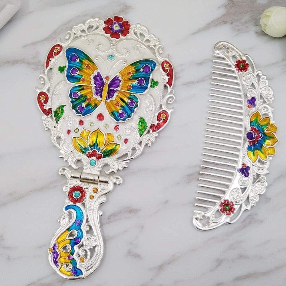 Home bathroom products Retro Small Makeup Mirror, Handle Mirror Comb Set Portable Portable Mirror, Medium Butterfly Silver