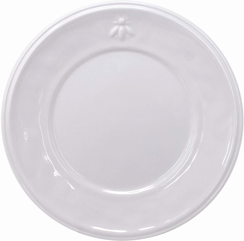 Le Cadeaux Napoleon Bee Melamine Salad Plates, Set of 4, 9 Inch, White