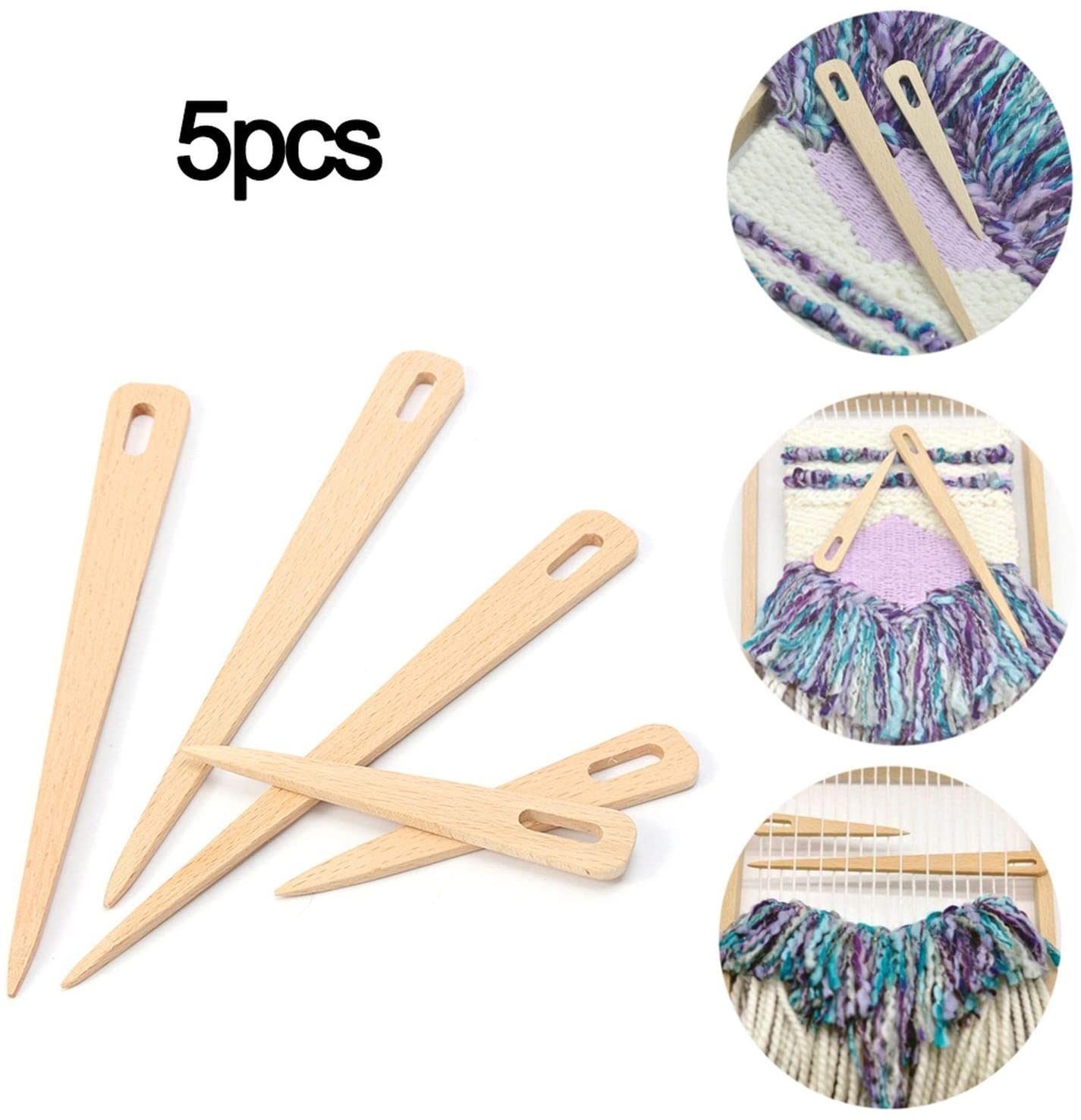 5 Pcs/Set Big Eye Yarn Knitting Needle Sewing Needles Wooden Tapestry Darning Knitting Needles Needlework DIY Crafts