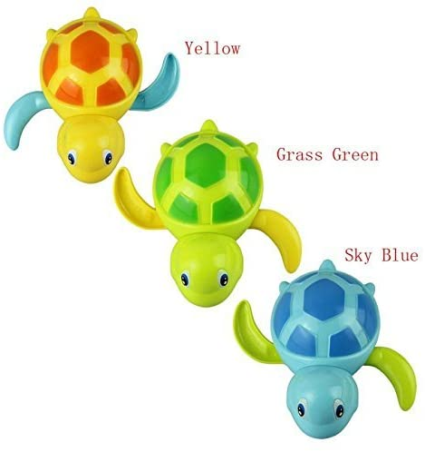 D'Design Set of 3 Baby Bathtub Wind up Turtle Toys Fun Multi Colors Swimming Bath tub, Beach, Pool Playset for Boys and Girls