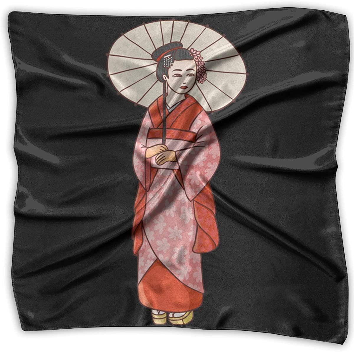 Geisha Kimono Square Handkerchiefs Shawl Bandanas Headscarf Neckerchief Headband
