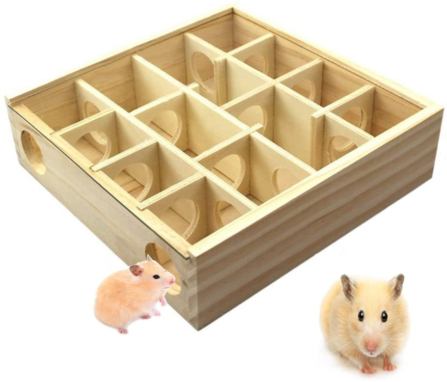 CHANNELS OF CONSUMERISM Hkim Hamster Maze, Meago Natural Wood Toy with Acrylic Cover Dwarf Mouse Cage Tubes Gerbil Maze for Small Furry Animals (Wood Maze)