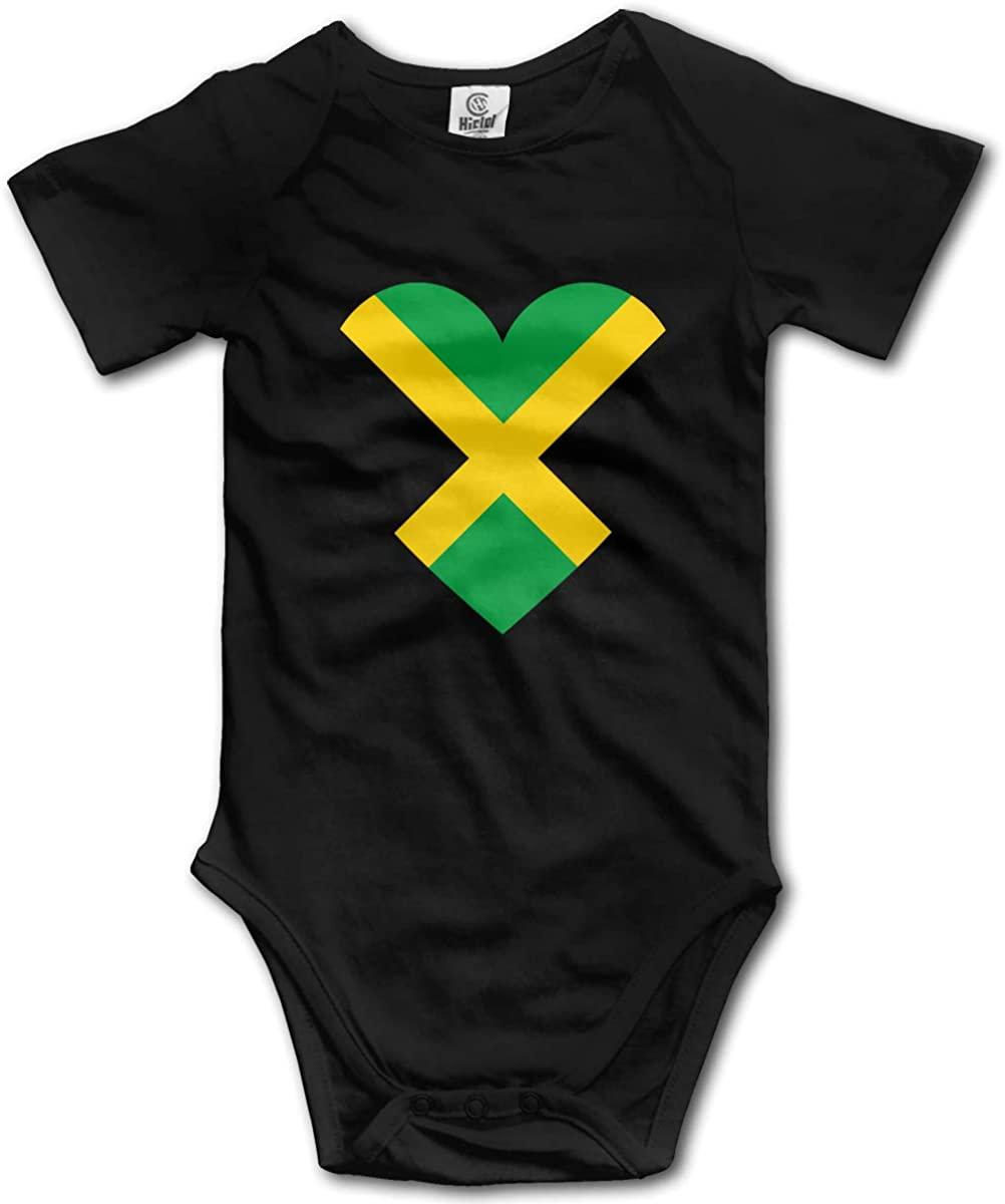 Baby Short-Sleeve Onesies Love Jamaica Flag Bodysuit Baby Outfits