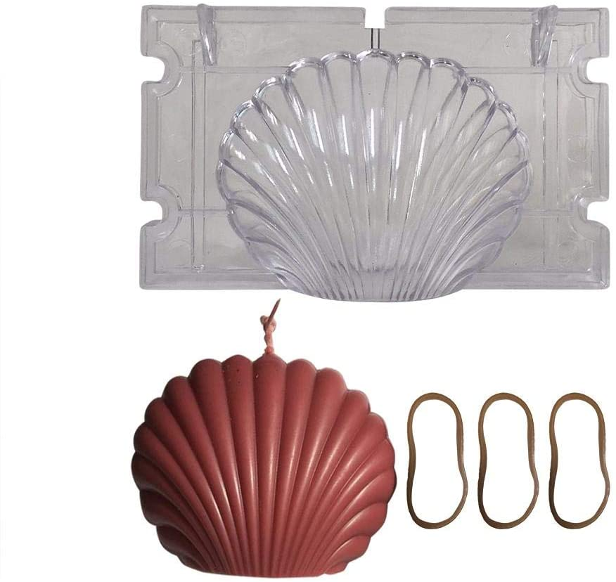 biliten Handmade DIY Candle Mold, Seashell Shell Durable Plastic Scallop Mold with 3 Rubber Bands