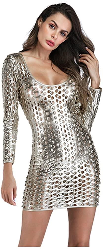 Wonder Beauty Women's Metallic Clubwear Hollow Out Long Sleeve Mini Dress with Cut-outs, Silver, One Size